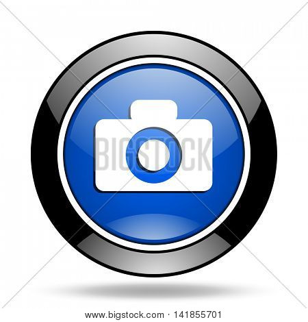 camera blue glossy icon