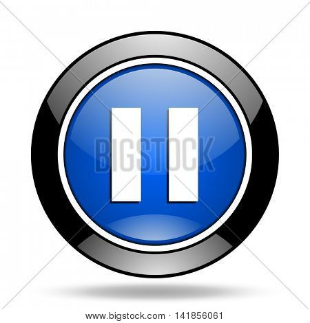 pause blue glossy icon