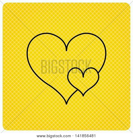 Love hearts icon. Lovers sign. Couple relationships. Linear icon on orange background. Vector