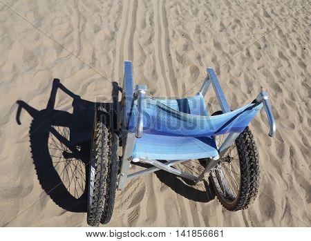 Aluminum Wheelchair On The Sand