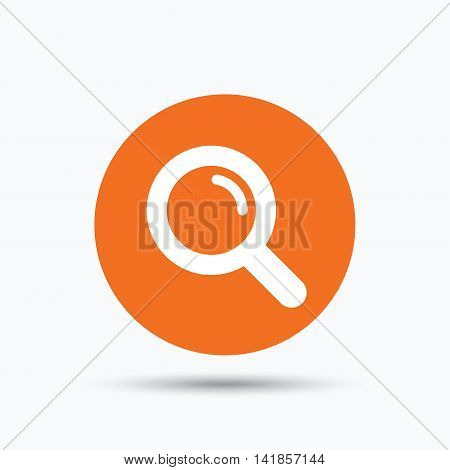 Magnifier icon. Search magnifying glass symbol. Orange circle button with flat web icon. Vector