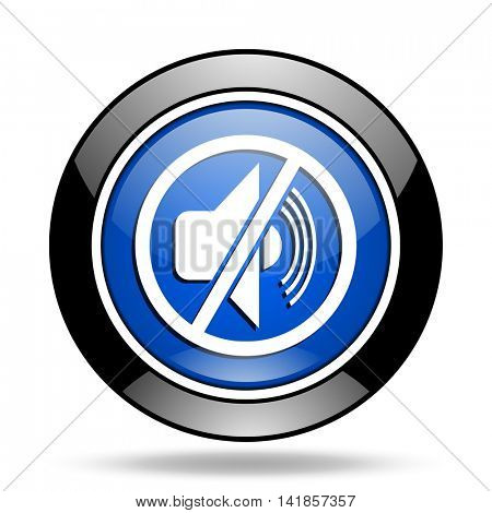 mute blue glossy icon