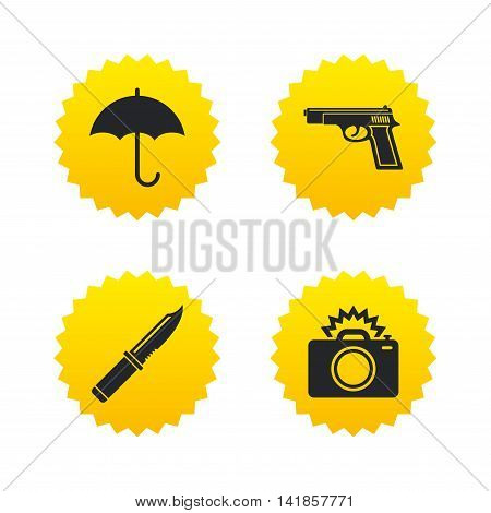 Gun weapon icon.Knife, umbrella and photo camera with flash signs. Edged hunting equipment. Prohibition objects. Yellow stars labels with flat icons. Vector