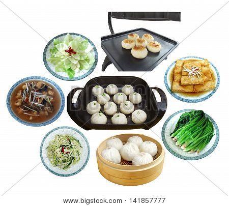 Plenty of dumplings dim sum tofu and vegetables on white background