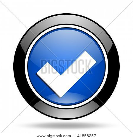accept blue glossy icon