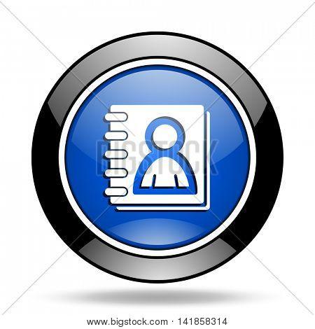 address book blue glossy icon