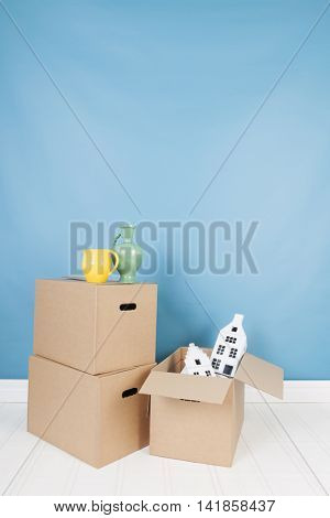Removal house with boxes in interior