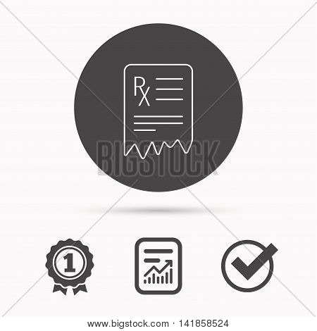 Medical prescription icon. Health document sign. Report document, winner award and tick. Round circle button with icon. Vector