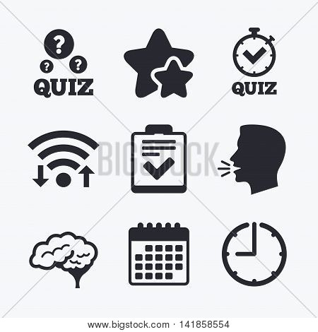 Quiz icons. Human brain think. Checklist and stopwatch timer symbol. Survey poll or questionnaire feedback form sign. Wifi internet, favorite stars, calendar and clock. Talking head. Vector