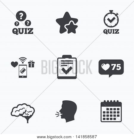 Quiz icons. Human brain think. Checklist and stopwatch timer symbol. Survey poll or questionnaire feedback form sign. Flat talking head, calendar icons. Stars, like counter icons. Vector