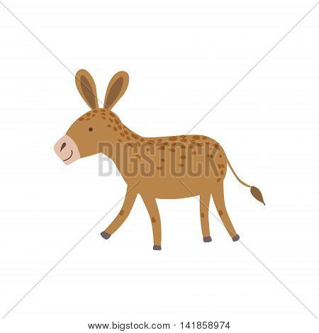 Brown Spotted Donkey Walking Stylized Cute Childish Flat Vector Drawing Isolated On White Background