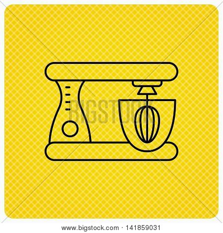 Mixer icon. Electric blender sign. Linear icon on orange background. Vector
