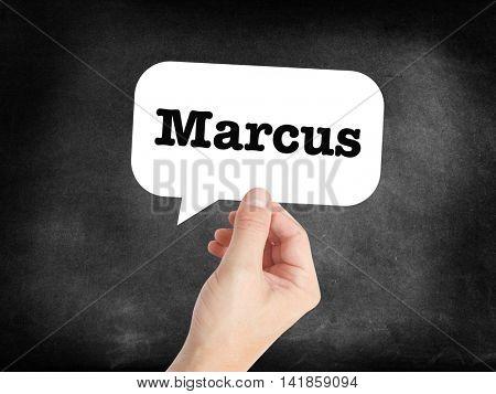 Marcus written in a speechbubble