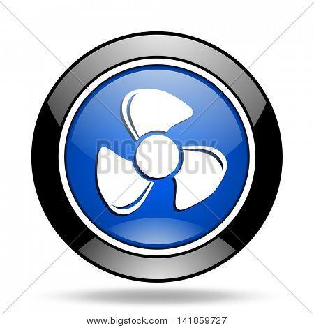 fan blue glossy icon