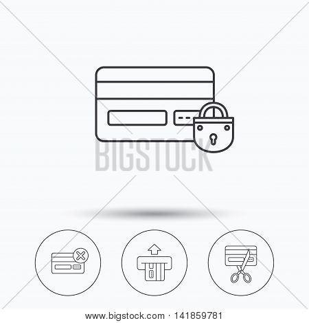 Bank credit card icons. Banking, blocked and expired debit card linear signs. Linear icons in circle buttons. Flat web symbols. Vector