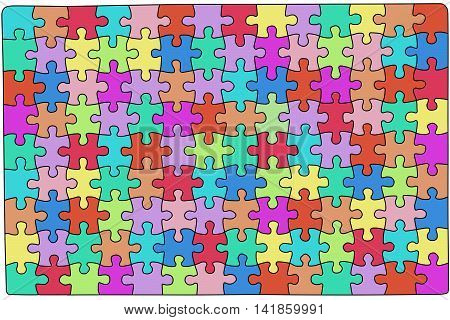 Color puzzle with a black border, a lot of puzzles of different colors