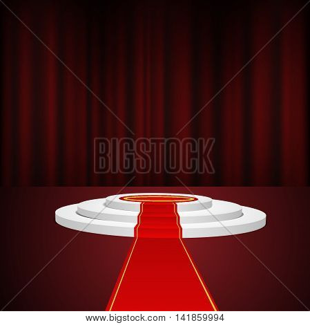 Red Stage Podium For Award Ceremony Vector Illustration Eps 10