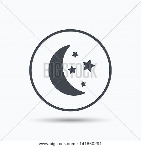 Moon and stars icon. Night sleep symbol. Circle button with flat web icon on white background. Vector