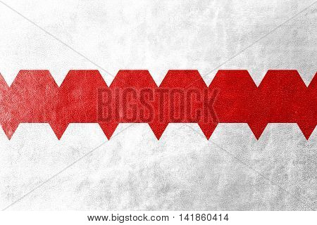 Flag Of Omsk, Omsk Oblast, Russia, Painted On Leather Texture