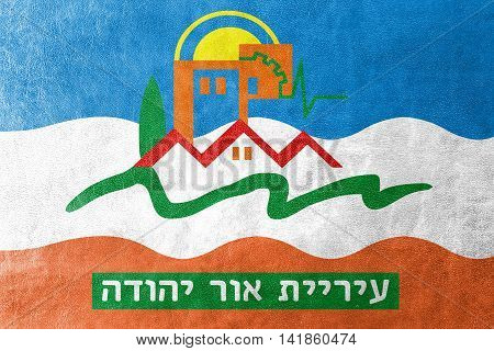 Flag Of Or Yehuda, Israel, Painted On Leather Texture