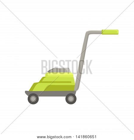 Green Lawn Mower Simple Realistic Bright Flat Colorful Illustration Isolated On White Background