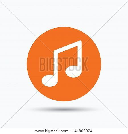 Music icon. Musical note sign. Melody symbol. Orange circle button with flat web icon. Vector