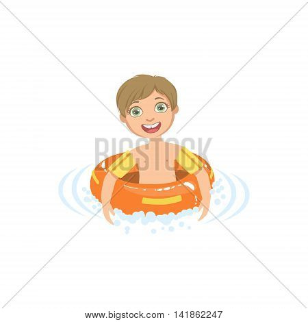 Boy In Water With Round Float Simple Design Illustration In Cute Fun Cartoon Style Isolated On White Background