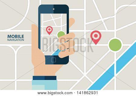 Mobile GPS navigation service. Hand holding mobile phone with navigation application. Vector illustration.