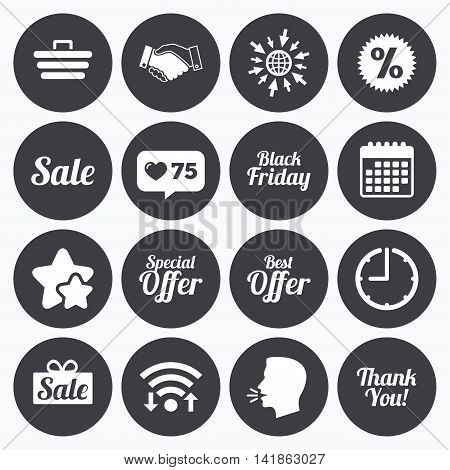 Calendar, wifi and clock symbols. Like counter, stars symbols. Sale discounts icon. Shopping, handshake and black friday signs. Special offer symbols. Talking head, go to web symbols. Vector