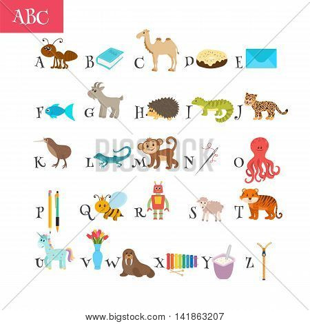 Abc. Cartoon Vocabulary For Education. Children Alphabet With Cute Cartoon Animals And Other Funny E
