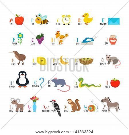 Abc. Learn To Read. Children Alphabet With Cute Cartoon Animals And Other Funny Elements
