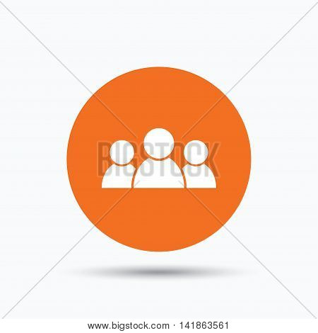 People icon. Group of humans sign. Team work symbol. Orange circle button with flat web icon. Vector