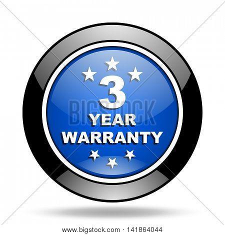 warranty guarantee 3 year blue glossy icon