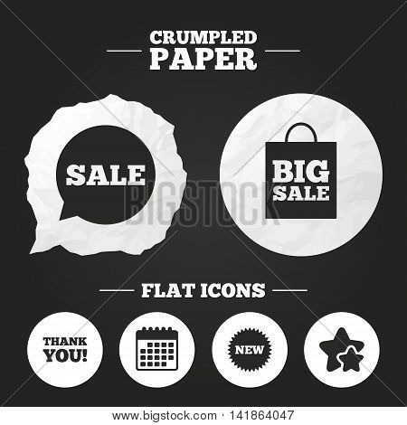 Crumpled paper speech bubble. Sale speech bubble icon. Thank you symbol. New star circle sign. Big sale shopping bag. Paper button. Vector