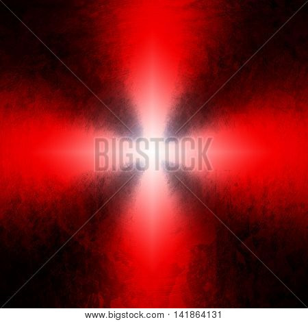 stained metal with red ray background