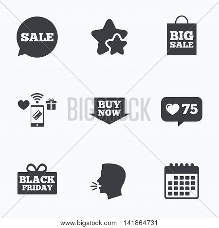 Sale speech bubble icons. Buy now arrow symbols. Black friday gift box signs. Big sale shopping bag. Flat talking head, calendar icons. Stars, like counter icons. Vector