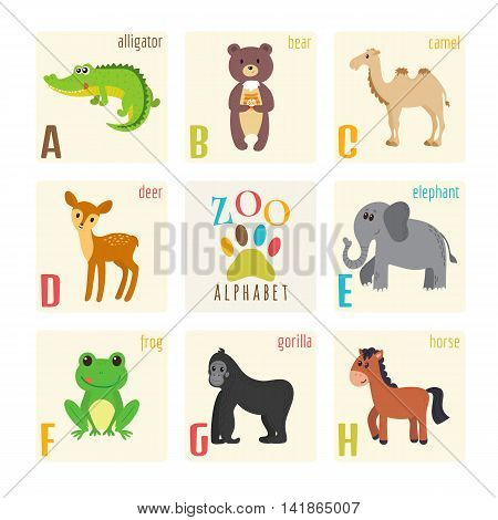 Cute Zoo Alphabet With Animals In Cartoon Style. Alligator, Bear, Camel, Deer, Elephant, Frog, Goril
