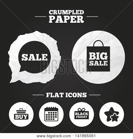 Crumpled paper speech bubble. Sale speech bubble icons. Buy cart symbols. Black friday gift box signs. Big sale shopping bag. Paper button. Vector