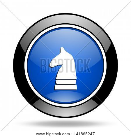chess horse blue glossy icon