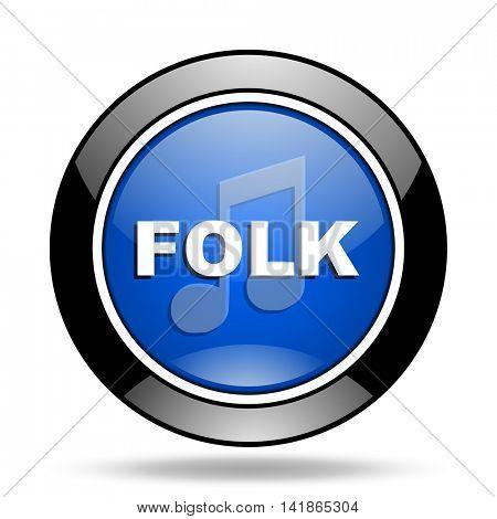 folk music blue glossy icon