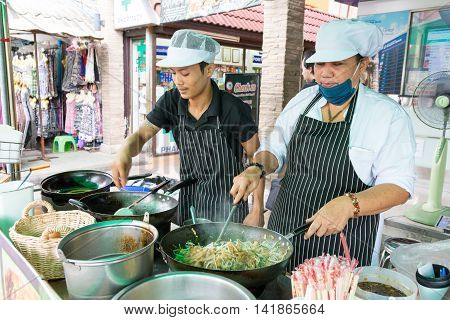 Bangkok Thailand - Jun 26 2016. Thai people cooking fresh padthai in Bangkok Thailand