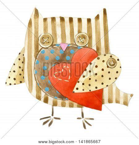 Cute owl. Watercolor bird owl. Birthday card. Cartoon bird.