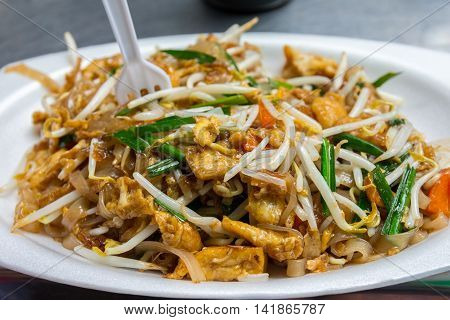 Delicious healthy pad thai streetfood in Khao San road Boangkok Thailand