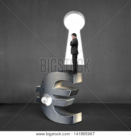 Thinking Businessman Standing On Silver Euro Sign With Lock