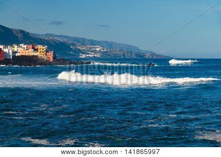 Atlantic ocean stormy waves near coast of Puerto de la Cruz city Tenerife Canary islands Spain