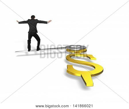 Rear View Businessman Stand On Clock Hands In Usd Dollar Sign