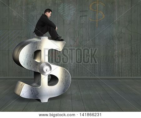 Thinking Businessman Sitting On Silver Dollar Sign With Lock