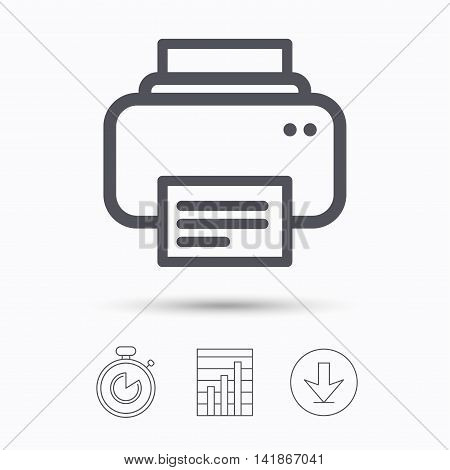 Printer icon. Print documents technology symbol. Stopwatch, chart graph and download arrow. Linear icons on white background. Vector