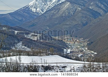 SOCHI, RUSSIA - JANUARY 2015: View with lift height ski resort Rosa Khutor - largest facility Olympic Games 2014