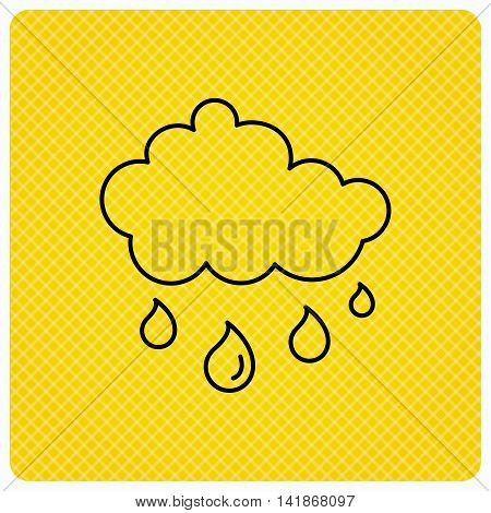 Rain icon. Water drops and cloud sign. Rainy overcast day symbol. Linear icon on orange background. Vector